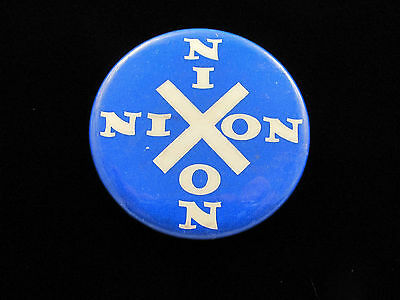 "1968 Richard Nixon for President 1 3/4"" Pinback Button crossing Nixons"