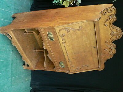 Fine Antique Oak Slant Top Desk Cabinet Carved Fabulous Estate