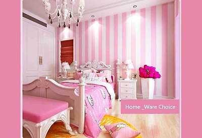 Nursery Girls room decorative Striped baby Pink wallpaper 10M wall paper roll