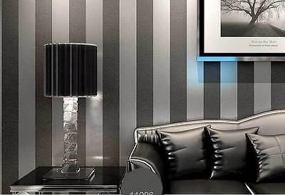 Metallic look striped charcoal silver grey wallpaper industrial shop wallpaper