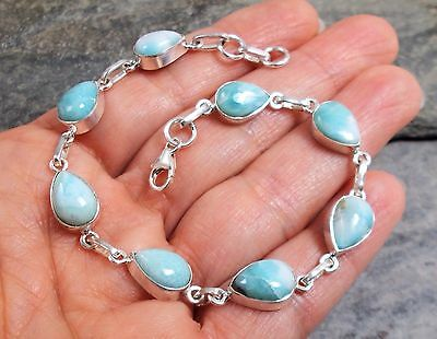 925 Silver Genuine BLUE LARIMAR Bracelet B583~Silverwave*uk Jewellery