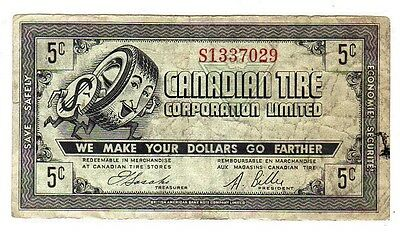 1962 5c CTC CANADIAN TIRE MONEY NOTE coupon gas bar S1337029