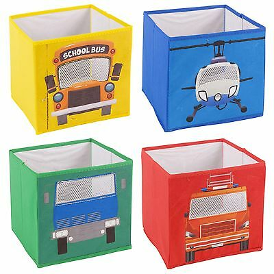 4x Kids Cute Design Toy Game Storage Box Non Woven Fabric Collapsible Organiser