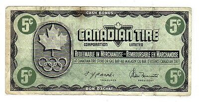 1976 5c CTC CANADIAN TIRE MONEY NOTE coupon gas bar 1976 Olympics KN1168523