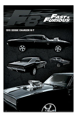 Fast & Furious 8 Film Movie Dodge Charger Poster New - Maxi Size 36 x 24 Inch