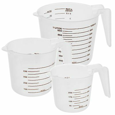 3 Sizes Stacking Measuring Cup Jugs Plastic Baking Kitchen Set Flour Sugar Water