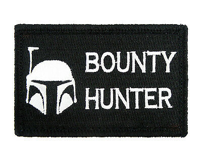 Boba Fett Bounty Hunter B&W Tactical Hook & Loop Embroidered Morale Tags