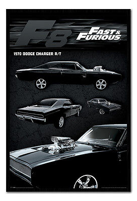 Framed Fast & Furious 8 Film Movie Dodge Charger Poster New