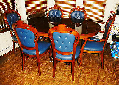 "French Carved Oval Mahogany Inlaid Dining Table w 6 Upholstered Chairs 68"" x 43"""