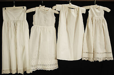 Antique Dress Childs Undergarment Cotton Slips Lot Of 4