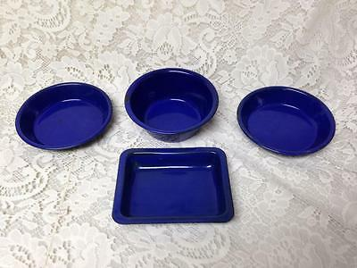 Vintage, Cobalt Blue  Enamelware, 4pc Childs Bakeware Set- Just Like Mama