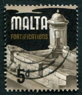 MALTA 1970 5d multicoloured SG337b used NG Fortifications b #W18