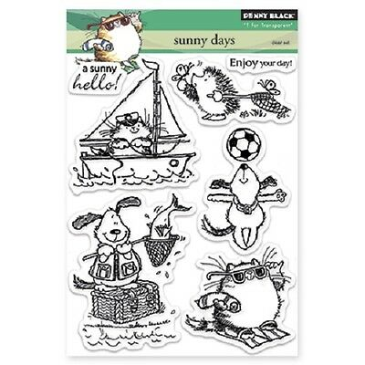 PENNY BLACK RUBBER STAMPS CLEAR SUNNY DAYS NEW clear STAMP SET