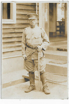 WWII Japanese Army Soldier Holding Sword Photo