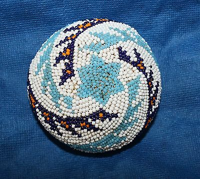 """Attractive Paiute Beaded Native American Basket 3 2/4""""d x 1 3/4""""h"""