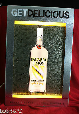 "BACARDI LIMON CITRUS RUM ALUMINUM & FLOURESCENT LIGHTED SIGN 20.5"" x 13.25 x 4"""