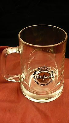 Warfteiner 14 ounce beer stein German brewery tapered mug handle glass