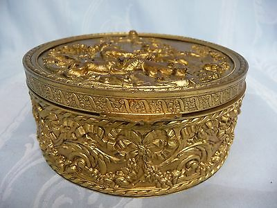 Beautiful Antique French Bronze Repousse Hinged Box - Velvet Lined