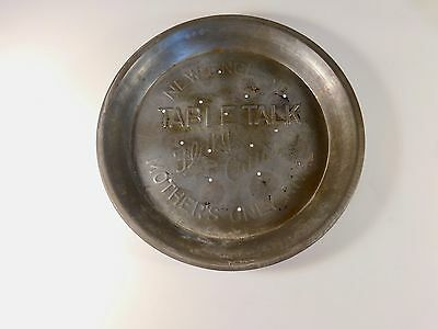 "Vintage New England Table Talk ""Mother's Only Rival"" Flaky Crust Pie Tin"