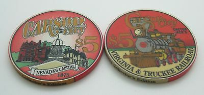 Set of 2 Cactus Jack's $5 Casino Chip Carson City Nevada ChipCo. FREE SHIPPING