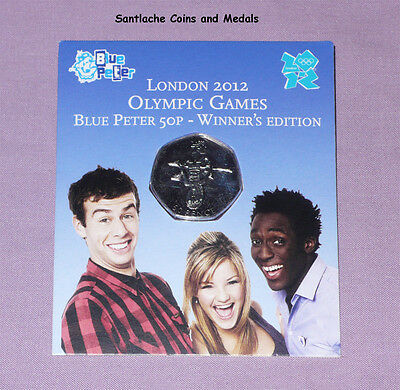 2009 ROYAL MINT BLUE PETER OLYMPICS 50p COIN - MUCH SCARCER THAN KEW GARDENS 50p