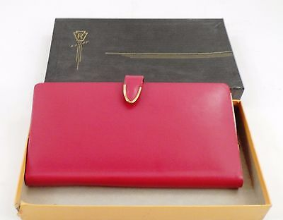 MIB Unused 1940s Rumpp Red Leather Map Case Automobile Car Papers Mileage Cards
