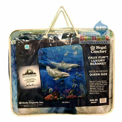 "Dolphin Ocean Swimming Dolphins Pod Fish Faux Fur Queen Size Blanket 79"" x 96"""