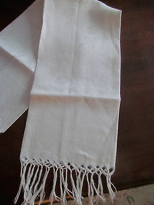 Antique Damask Linen Guest Towel Knotted Fringe~Morning Glory