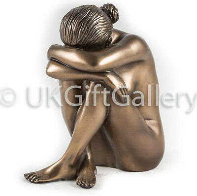 Sculpture of Nude Lady in Sitting Pose in Cold Cast Resin Bronze PEACE PD2572