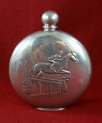 Old Sheffield Flask Bottle With Horses