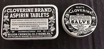 Set of 2 Vintage Cloverine Tins - Aspirin & Salve - New Old Stock