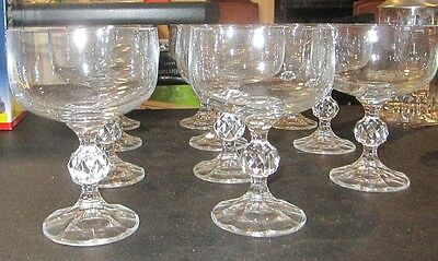 SET OF 11x HIGH QUALITY CRYSTAL COCKTAIL / DESSERT BOWLS ON FACET CUT STEMS