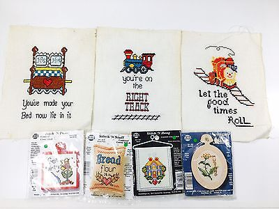 Vintage Needlepoint Lot 3 Finished Pieces + 4 Stitch N Frame Cross Stitch Kits