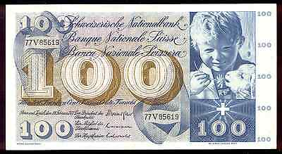 riotis 4505:  CRISP -UNC SWITZERLAND 100 FRANCS 1971, P-49m,