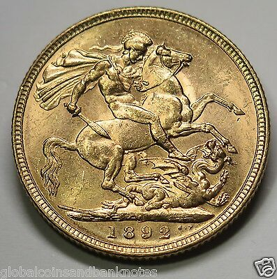 1892 Melbourne Queen Victoria,Jubilee Head Full Gold Sovereign aUNC