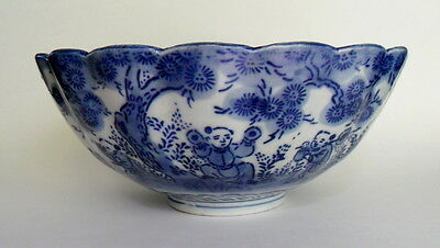 Antique 19th Century Vtg Chinese Export Blue & White China Bowl Children Figures
