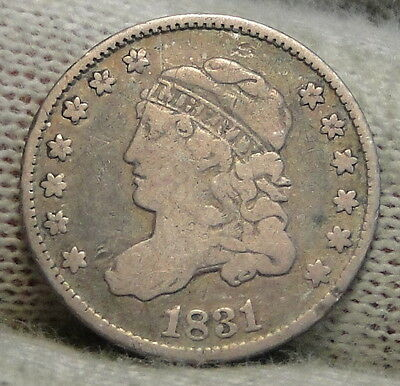 1831 Capped Bust Half Dime H10C 5 Cents - Nice Old Coin, Free Shipping  (5492)