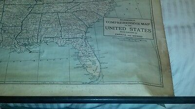 1920s VINTAGE CANVAS GEOGRAPHICAL MAP OF UNITED STATES NICE COLLECTABLE