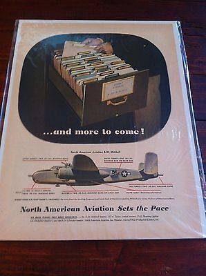 Vintage 1944 North American Aviation B-25 Mitchell Bomber WW II Print ad