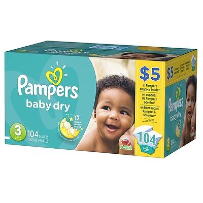 Pampers Diapers Baby Dry Size 3 Super 104 count