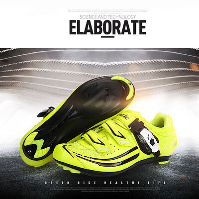 Santic  Road Cycling Bike Bicycle Shoes Look SPD-SL system Women Yellow shoes