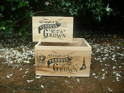 Set Of 2 Fresh Produce Wooden Country Crate Box Planters