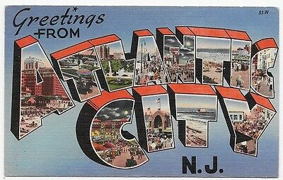 Greetings From ATLANTIC CITY NEW JERSEY Large Letter Linen Post Card #999