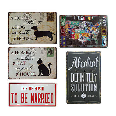 Metal Sign Tin Poster Bar Club Cafe Home Plate Plaque Picture Retro Wall Decor