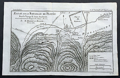 1784 Du Bocage Large Antique Map of The Battle of Platea City of Plataea Boeotia