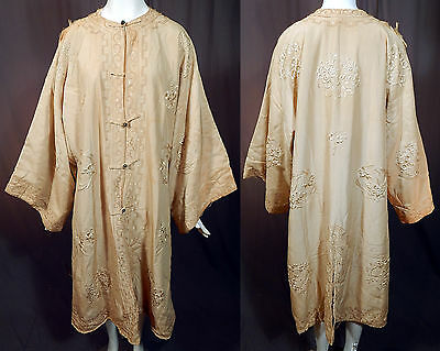 Edwardian Cream Silk Japonism Chinoiserie Oriental Floral Embroidered Robe Coat