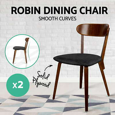 2xArtiss ROBIN Dining Chairs Bentwood Wooden Timber Kitchen Cafe Fabric Charcoal