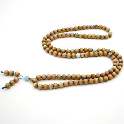 Stripe Wood Tibet Buddhist 108 Prayer Beads Mala Necklace Natural Jadeite Jade