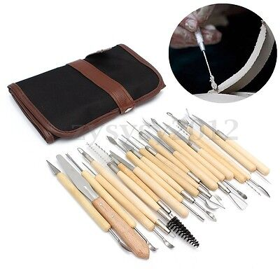 UK 22pcs Polymer Clay Sculpting Tool Set Wood Models Art Projects Pottery Kit