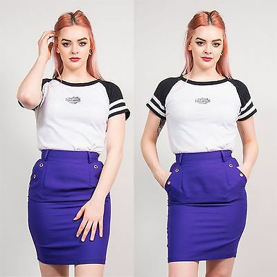 Womens Vintage Purple High Waist Pencil Skirt Fitted Casual 80's Straight 6